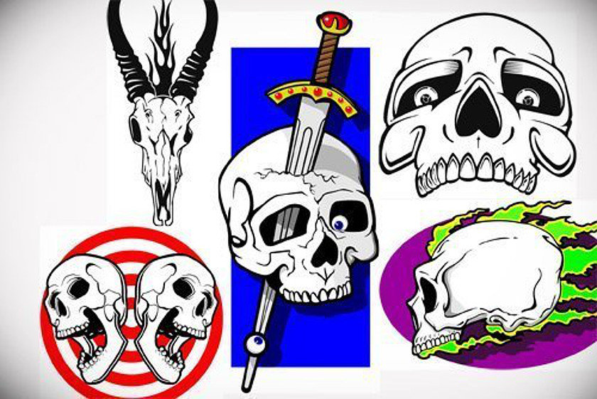 50 scull stencils1 - 50 Skull Stencils (.ai .cdr .eps .jpg)