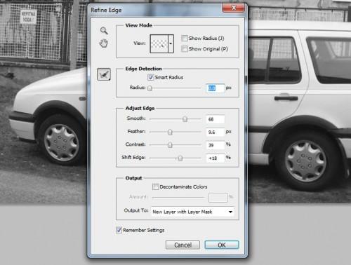 Refine Edge 500x378 - Car Airbrush in Photoshop