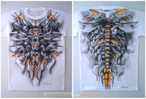 t shirt airbrush 500x340 - Mad Airbrush Art by Nikolay Kozlov
