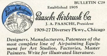1929 Paasche Bulletin 1 - PAASCHE Airbrush - Big Name in Airbrush History