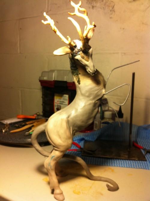 kirin sculpture 500x669 - Airbrushing On Polymer Clay