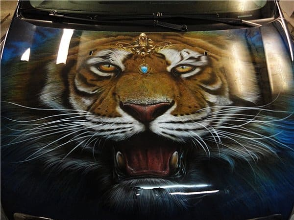 Airbrush Tiger Car Hood 38 - Airbrush a Tiger on The Car Hood Without Any Stencil