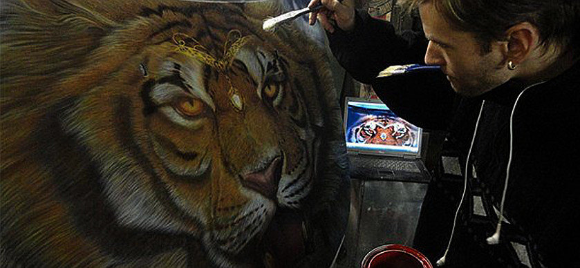 Airbrush Tiger Car Hood - Airbrush a Tiger on The Car Hood Without Any Stencil